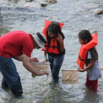 Collecting macroinvertebrates with Mr. Alan Seale, 5th grade science teacher